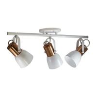 Spot para 3 Lâmpadas E27 Branco/Cobre Polido Trilh... - Jabu Elétrica, Hidráulica e Iluminação