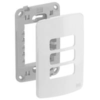Placa 4x2 Para 3 Módulos Separados Com Suporte Com... - Jabu Elétrica, Hidráulica e Iluminação