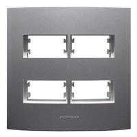 Placa 4x4 com Suporte para 2 + 2 Módulos 85481 Gra... - Jabu Elétrica, Hidráulica e Iluminação