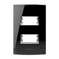 Placa 4x2 com Suporte para 2 Módulos 85527 Black P... - Jabu Elétrica, Hidráulica e Iluminação