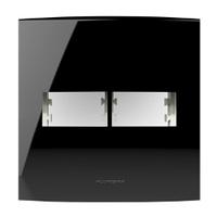 Placa 4x4 com Suporte para 1 + 1 Módulo 85530 Blac... - Jabu Elétrica, Hidráulica e Iluminação