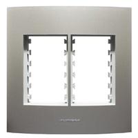 Placa 4x4 com Suporte para 3 + 3 Módulos 85582 Tit... - Jabu Elétrica, Hidráulica e Iluminação