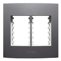 Placa 4x4 com Suporte para 3 + 3 Módulos 85482 Gra... - Jabu Elétrica, Hidráulica e Iluminação