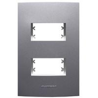 Placa 4x2 com Suporte para 2 Módulos 85477 Grafite... - Jabu Elétrica, Hidráulica e Iluminação