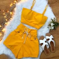 Conjunto Cropped e Shorts - Amarelo