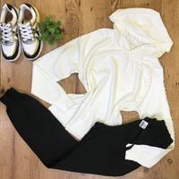 Casaco Modal Com Pérolas e Capuz - Branco