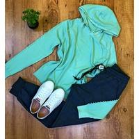 Casaco Modal Com Pérolas e Capuz - Verde