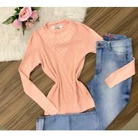Blusa Canelada Básica - Rosa