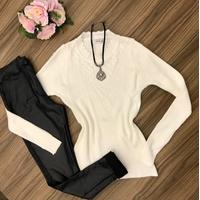 Blusa Canelada Básica - Branco Mayara Lira