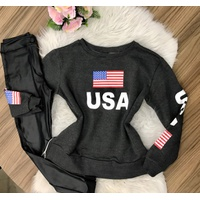 Blusa Moletom Usa - Chumbo