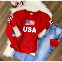 Blusa Moletom Usa - Vermelho