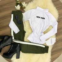 Calça Bengaline C/ Lista Lateral - Verde Com Branco