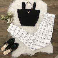 Calça Em Bengaline Xadrez - Branco