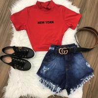 Cropped C/ Gola New York - Vermelho