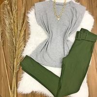 Calça Bengaline Com Cinto - Verde Militar