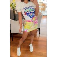 Conjunto Blusa Manga Princesa e Shorts Saia Tie Dye