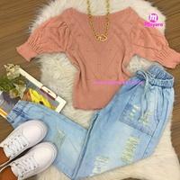 Blusa Trico|bolinhas Em Relevo|meia Manga - Rosa Queimado