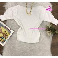 Blusa Trico|bolinhas Em Relevo|meia Manga - Branco