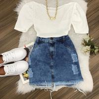 Blusa Trico|decote Furadinhos|manga Curta - Branco