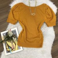 Blusa Trico Manga Curta Princesa | Lisa - Caramelo