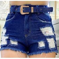 Shorts Jeans Melinda com Rasgos e Cinto - Jeans Azul Escuro
