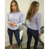 Camisa Listrada Manga Bufante Azul