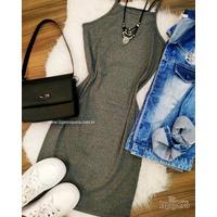 Vestido Canelado Cinza