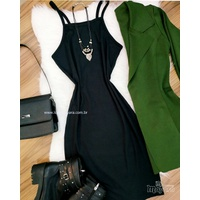 Vestido Canelado Preto
