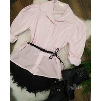 Camisa Listrada Manga Bufante Rosa
