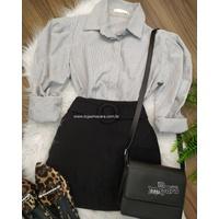 Camisa Listrada Manga Bufante Cinza