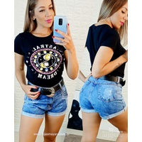Shorts Jeans Barra Dobrada Mesclado