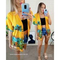Kimono Floral Amarelo Escuro