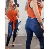 Calça Jeans Melinda C/ Zíper Na Frente - Jeans Escuro