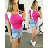 Body Canelado Listra Pink Com Branco