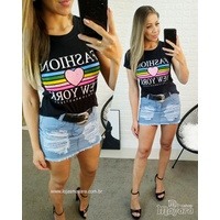 T-shirt Fashion New York Preta