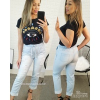 Calça Jeans Cargo Com Barra Clara