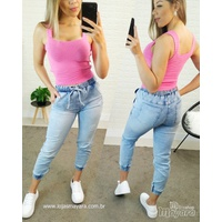 Calça Jeans Cargo Jogger Lisa Mesclada