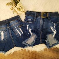 Shorts Jeans Pilily Com Cintos Azul