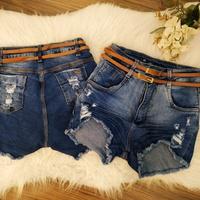 Shorts Jeans Melinda Com Dois Cintos Médio