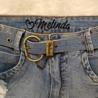 Shorts Jeans Melinda Com Cintos e Corrente Claro