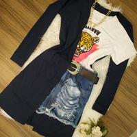 Kimono/maxi Cardigan Canelado Azul Escuro