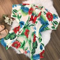 Conjunto 3 Peças Kimono, Top e Shorts Vermelho com Verde