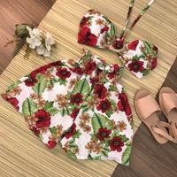 Conjunto 2 Peças Cropped e Shorts Branco Com Vermelho