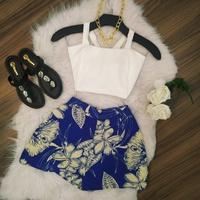 Conjunto Shorts e Cropped Azul e Branco