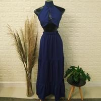Conjunto Saia Longa e Cropped Azul Marinho