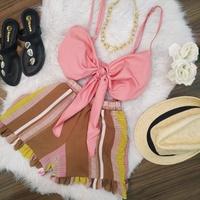 Conjunto Shorts e Cropped Rosa Com Marrom