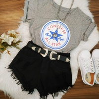 Cropped Converse All Star Cinza