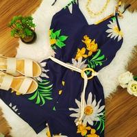 Macaquinho Alcinha Floral Azul Marinho