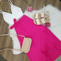 Saia Envelope Com Babado Pink