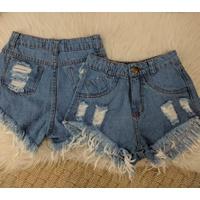 Shorts Jeans Dois Desfiado Claro